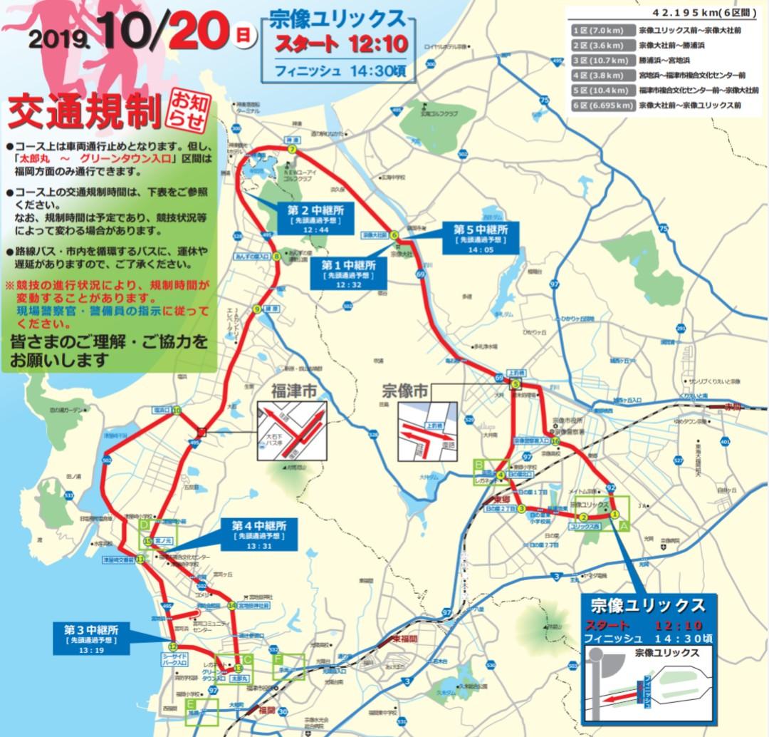 プリンセス駅伝2019の交通規制図