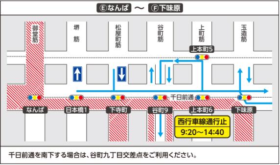 大阪マラソン2019の交通規制 なんば~塩味原