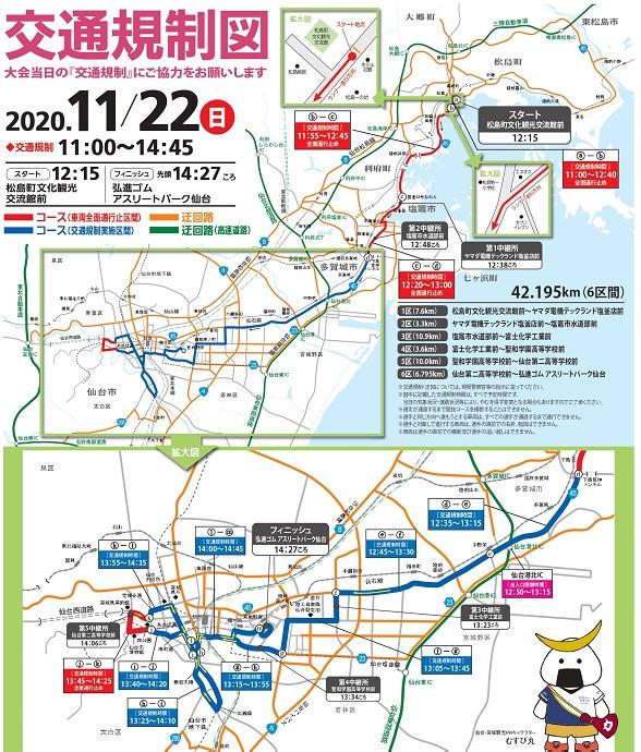 クイーンズ駅伝2020の交通規制図・時間