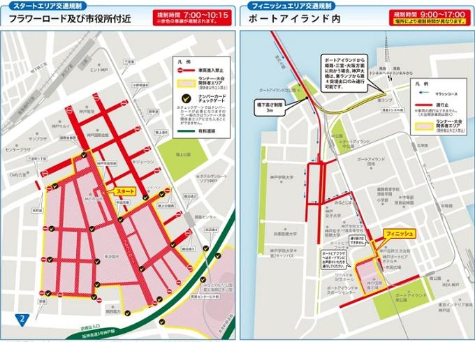 神戸マラソン2019交通規制 スタート・ゴール地点