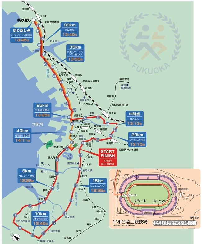 福岡国際マラソン2020のコース図