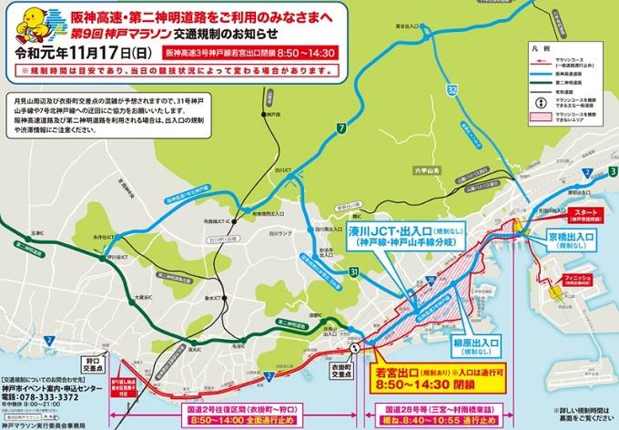 神戸マラソン2019の交通規制 高速道路編