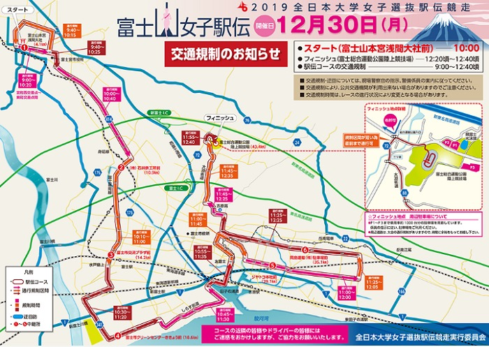 富士山女子駅伝2019の交通規制図