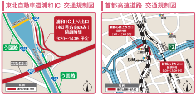 さいたま国際マラソン2019 高速道路の交通規制