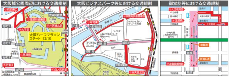 大阪ハーフマラソン2020交通規制図