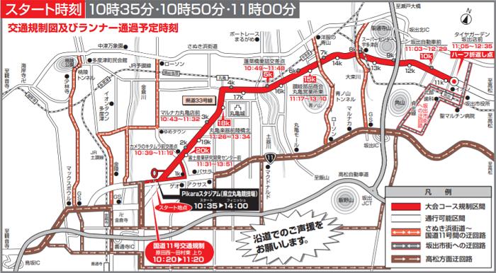 香川丸亀国際ハーフマラソン2020の交通規制図