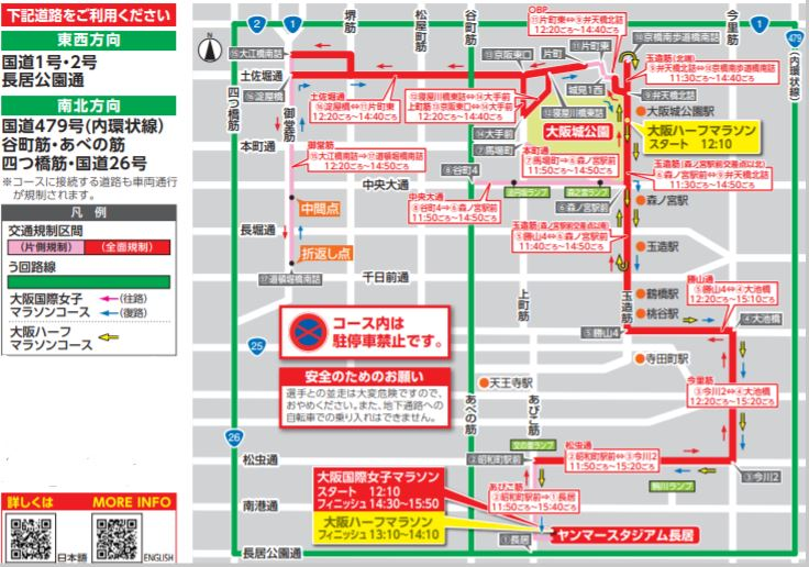 大阪ハーフマラソン2020の交通規制図