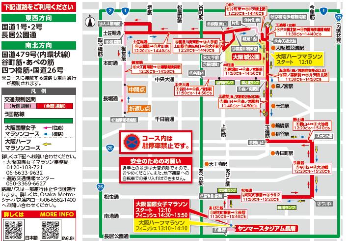 大阪国際女子マラソン2020の交通規制図
