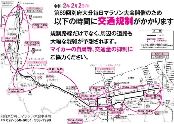別府大分毎日マラソン2020の交通規制図