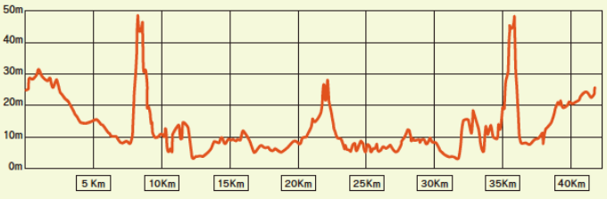愛媛マラソン2020の高低差