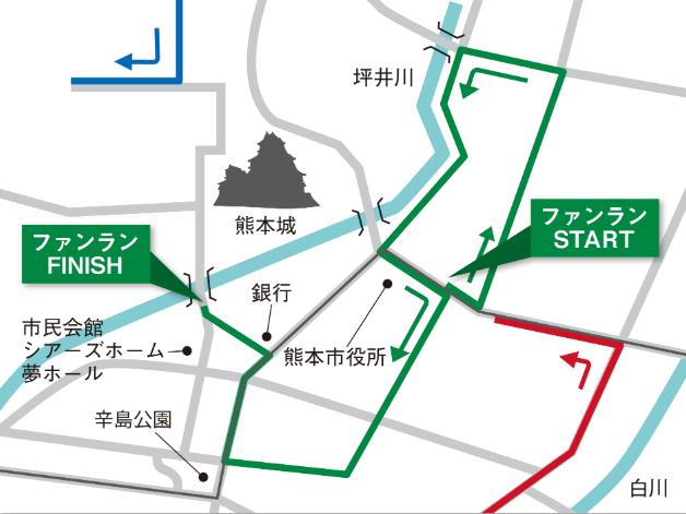 熊本城マラソン2020のコース図(復興チャレンジファンラン)